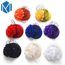Floral Hat Yarn Hairpin Hair Clip Party Fascinator Women Flower Hairgrip Headwear Hair Accessories Girl Festival Clamps Barrette(China)