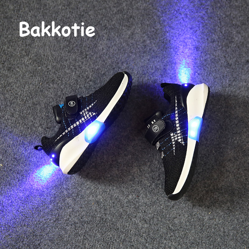 Bakkotie 2017 Fashion Children USB Charging Spring Baby Boy Sport Led Kid Brand Glowing Sneaker Breathable Leisure Girl Trainer<br>