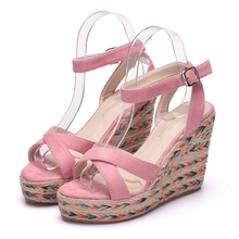 Crystal Queen Elegant Women sandals 2017 Wedges platform sandals bohemia pink sandals wedges platform high heel sandals size 41