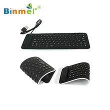 Binmer Portable USB Mini Flexible Silicone PC Keyboard Foldable for Laptop Notebook Black Wholesale price May18