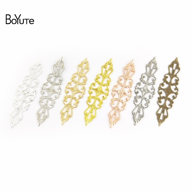 BoYuTe 50 Pcs 1557MM Metal Brass Stamping Filigree Flower Charm Hand Made DIY Charms for Jewelry Making (1)