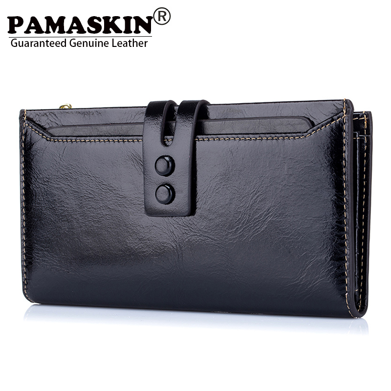 PAMASKIN Premium Cowhide 100% Oil Wax Leather Long Women Organizer Wallets Female Clutch Purses with Phone Pocket Card Holders<br>