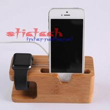 by dhl or ems 100 pieces 2 in 1 premium 100% Bamboo Wooden Charging Dock Stand Phone Holder For All mobilephones i Watches(China)