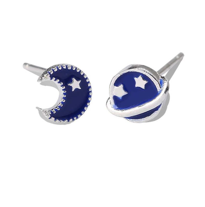 geekoplanet.com - Asymmetric Rhinestone Moon Star Planet Earrings