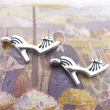 BULK 30pcs Lots Tibetan Silver Tone High Heel Shoes Charms Alloy Metal Pendants for DIY Jewelry Making 14*41mm 1.8g(China)