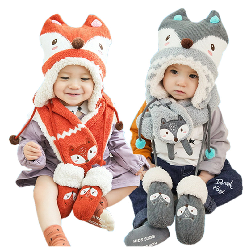 Cotton Scarf Collar Set Chic Baby Newborn Hat Girl Boy Kids Autumn Winter Cap