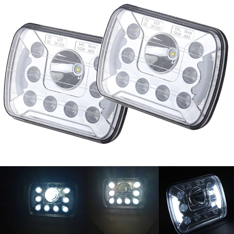 Free shipping Silver 6x7 INCH High/Low Dual beam LED Headlamp for  Jeep Cherokee XJ Motorcycles Headlight Pair 6054 With DRL<br><br>Aliexpress