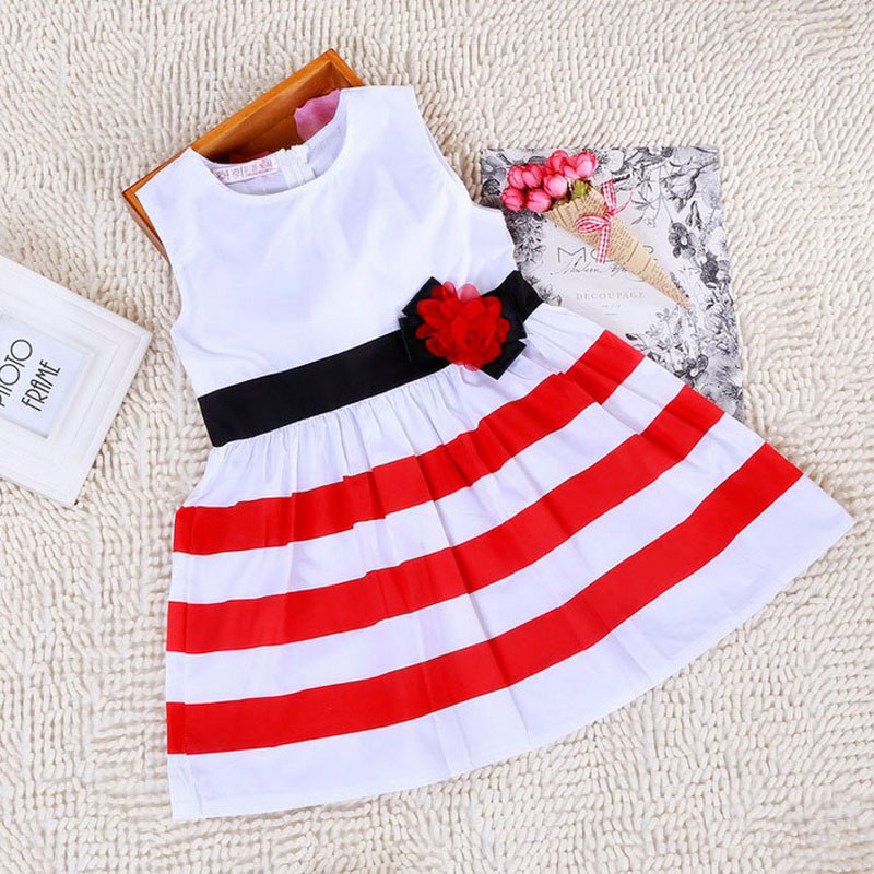 2016 new style summer dress kids Girl Clothes Princess Red In White Stripe Belt Flower Dress children clothing girl party dress<br><br>Aliexpress