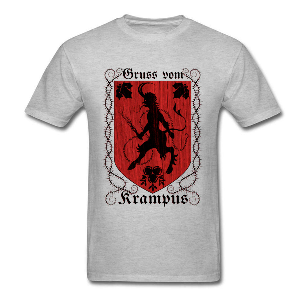 Greetings From Krampus Mens Tshirt Fitted Normal Tops Shirt ostern Day Cotton Fabric Round Collar Tee Shirts Short Sleeve Greetings From Krampus grey