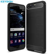 KEYSION Case for Huawei P10 P10 Plus P9 P9 Plus Cover Carbon Fibre Brushed TPU Smart Phone Cases for Huawei P10 Mobile Phone Bag