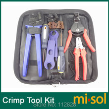 Kit of PV Crimper for MC3 MC4 Tyco Connector, PV cable cutter, crimp tool(China)
