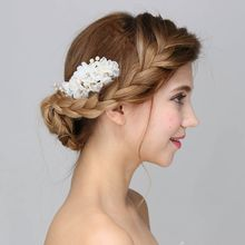 Handmade Fashion Bead Bridal White Flower  Hair Comb Wedding Accessories Rhinestone Headpiece Women Party Headdress Combs