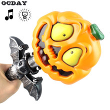 OCDAY Funny Handheld Light Up LED Pumpkin Light Halloween Props Decoration Cosplay Party Wand Sticks Baton(China)