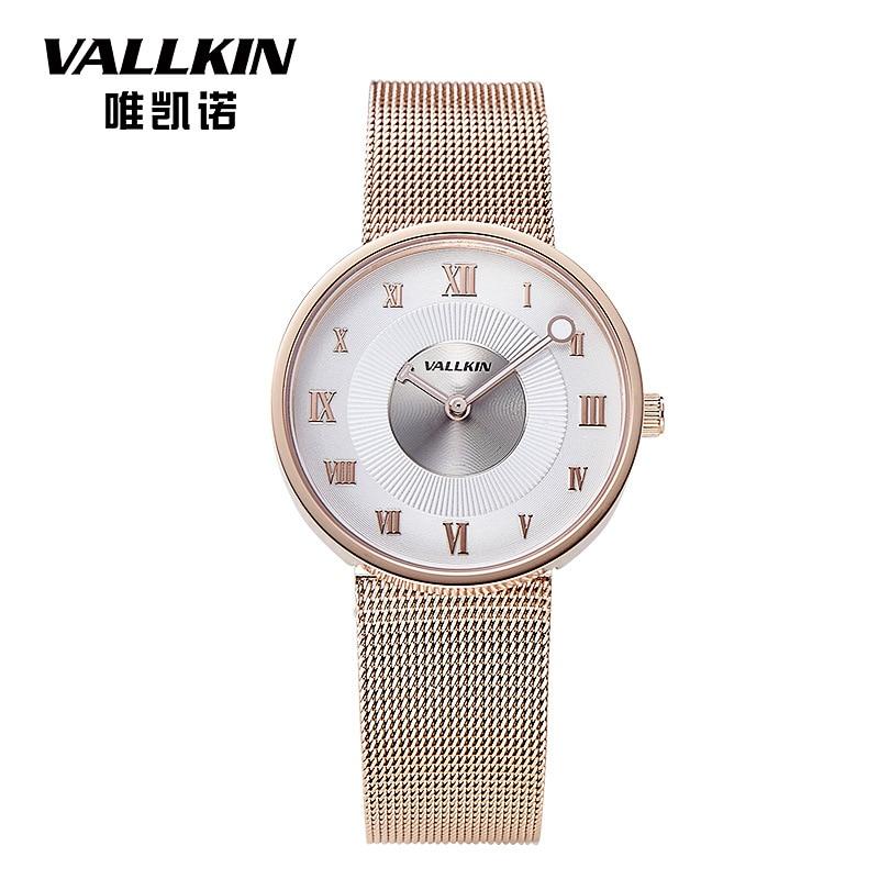 VALLKIN Women Watch Top Fashion Brand Female Clock Gold Case Stainless steel  Waterproof Wristwatches Hot Sale<br>