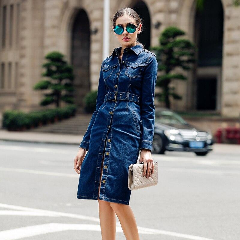 Модные женские джинсовые платья 2018