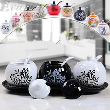 3pcs/set Ceramic Spice Jar Ancient Box Jar Ceramic Canister Products For The Kitchen Food Container All Kinds Tea Storage Can
