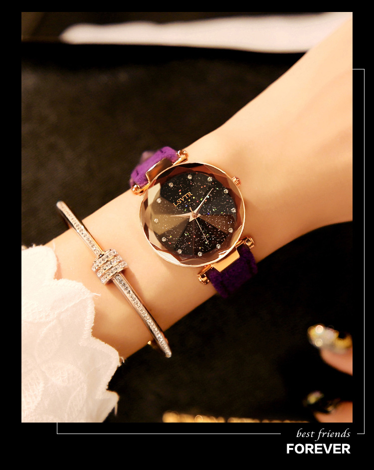 18 Luxury Brand Gogoey Women Watches Personality romantic starry sky Wrist Watch Leather Rhinestone Designer Ladies Red Clock 24