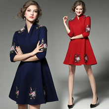 Real European Station Early The Spring blue and red Sleeve Seven Heavy Embroidery Industrial Flower Stitch Retro Elegant Dress