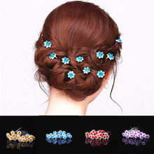 TOMTOSH 20Pcs/Lot Chic Women Wedding Bridal Crystal Rhinestone Rose Flower Hairpins Hair Clips Hair Accessories Jewelry High Qua