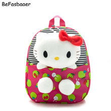 New Design Padded Oxford Cute Dot Hello Kitty Backpacks Gift for Children Plush Cartoon School Bag for Kid with Detachable Doll