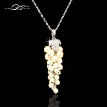 Simulated Pearl Beads Grapes Necklaces & Pendants Rose Gold/Silver Color Cubic Zirconia Wedding Jewelry For Women DFN072M