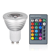 NEW 3W RGB LED Spotlight bulb GU10 AC 85-265V Lampada LED light Christmas Lanterna Bombillas LED lamp With 24 Key Remote Control