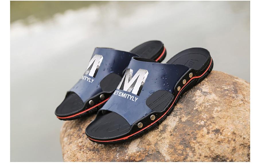 Plus Size Summer Slippers Outdoor Men Casual Sandals Beach Shoes Split Leather Non-Slip Flip Flops Mens Flats Euro 38-45 DR007 14 Online shopping Bangladesh