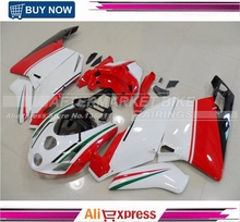Easy Installation ABS Plastic 749 / 999 2003 2004 Motorcycle Fairing Kit For Ducati Fairings Red & White Tri-color