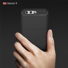 For Huawei Honor 9 5.15'' Flexible TPU Bumper Slim Fit Case Carbon Fiber Design Lightweight Shockproof Back Cover for Honor9