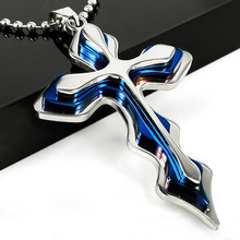 New Punk Style Rock Unix Men's Cool Blue Biker Wave Cross Pendant Stainless Steel Necklace Accessories