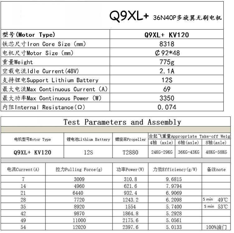 HengLi HLY Q9XL+ Brushless Motor 120KV CW/CCW for Plant Protection UAV Quadcopter Drone Multirotor