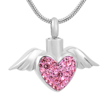 IJD9770 Stainless Steel Angel Wing Hold White/Blue/Pink Crystal Heart Cremation Urn Jewelry Ashes Pendant Necklace For Women