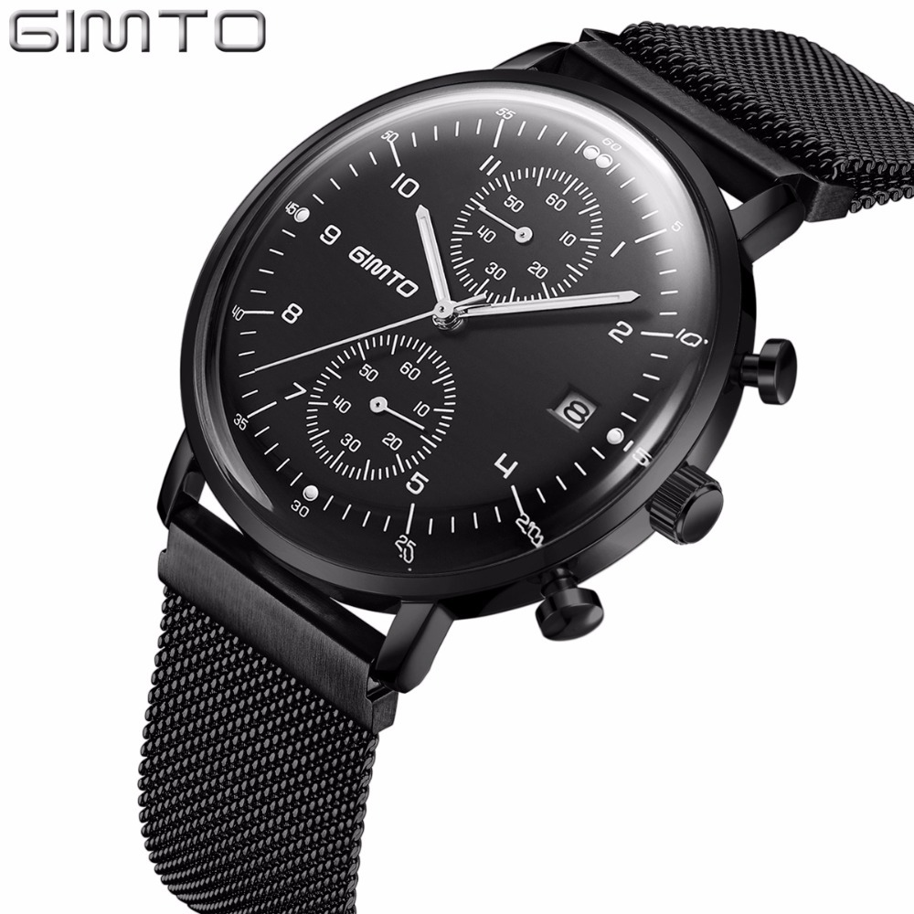 GIMTO Raised Arched Glass Sport Watches For Men Military Function Chronograph Watches Men Luminous Mens Watches Top Brand Luxury<br>