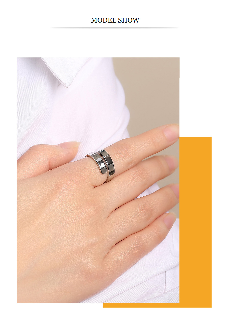 Adjustable Wrap Personalized Silver Stainless Steel Ring