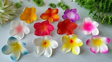 New! FREE SHIPPING KL975 300PCS/LOT 8CM FOAM HAWAII PLUMERIA HAIR STICK 10 COLORS MIXED REAL TOUCH FLOWERS WEEDING FLOWERS
