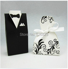 Bride and Groom wedding party candy favor boxes,chocolate bag ,bomboniere sweets dragee paper packaging,200PCS, EXPRESS shipping(China)