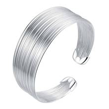 arrival big flower open silver bracelet bangle for women jewelry alloy parallel bars charm bracelet for young ladies Multi line