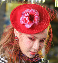 Free Shipping New Women Fascinator Party Hats Wool Felt Hairband Hair Clips Women Hairband Flower Girl Hair Accessories Red Mesh