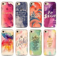 For iPhone X 8 7 6 6S Plus Cover Watercolors Quote Print Meme Hand Writing Clear Soft TPU Case(Hong Kong)