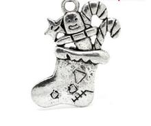 50pcs Christmas Candy Cane Stocking Charm Pendants Alloy Antique Silver Jewelry Findings 25x30mm