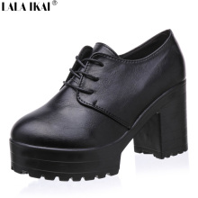 LALA IKAI 2016 Women Pumps Ladies High Heels Vintage Platform Shoes High-Heeled Shoes Woman Lace up Women Shoes XWK051-1.6