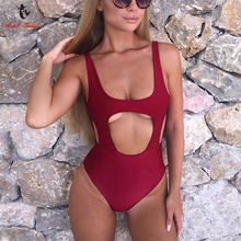 Buy Ariel Sarah One Piece Swimsuit Sexy Solid Swimwear Women Hollow Piece Swimwear Halter Bodysuit Bathing Suit Women Monokini