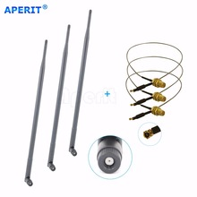 Aperit 3 9dBi RP-SMA 2.4 5.8GHz WiFi Antennas + 3 U.fl Cables Mod Kit for Asus / D-Link Router(China)