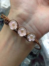 Hot New beautiful simple delicate Small fresh Dried flowers series Cherry blossoms hand made Bracelet for friend cute gift L0172