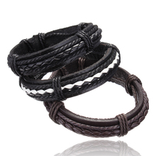 YYW wholesale factory price PU leather bracelets bangles cool braid leather cord bracelet men Casual rock punk fashion jewelry