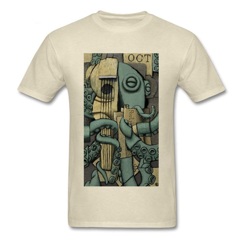 Georges Braquetopus Tops T Shirt Retro O-Neck Print Short Sleeve Pure Cotton Men's T Shirt Printed On Clothing Shirt Georges Braquetopus beige