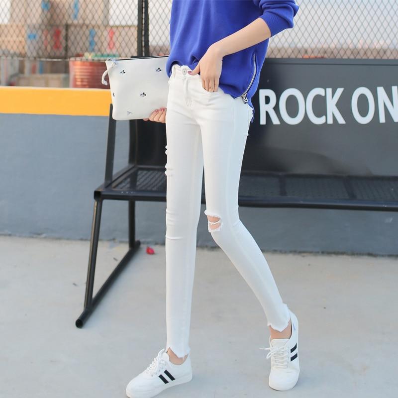 Hot Sale White  Pants Hole Ripped Jeans Woman Plus Size Elasticity High Waist Skinny Jeans Women Pencil Denim Pants Jeans FemmeОдежда и ак�е��уары<br><br><br>Aliexpress