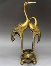 chinese Classic Feng Shui brass copper Two cranes stand on the dragon tortoise statues(China)