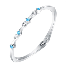 Jewelry factory direct price Austrian crystal bracelet bangles for women 2014 KC White Silver Plated available in 5 colors