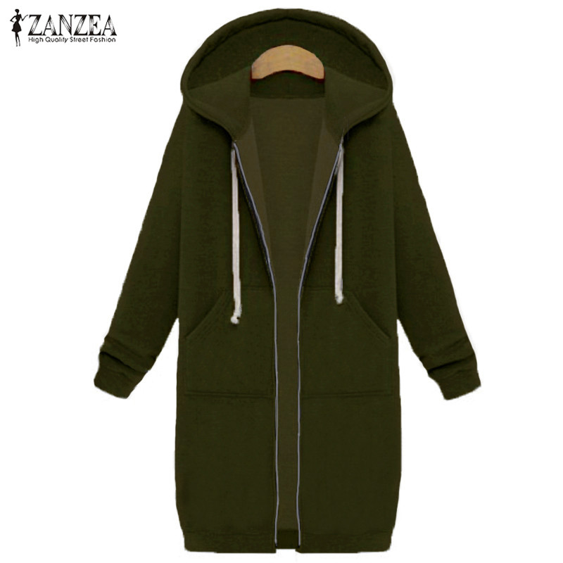 Oversized 2017 Autumn Women's Casual Long Hoodies Sweatshirt, Coat, Pockets, Zip Up, Outerwear Hooded Jacket 18